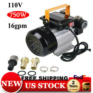 Ac 110v Electric Oil Pump Transfer Self Priming Fuel Diesel 16gpm 2800r m 750w