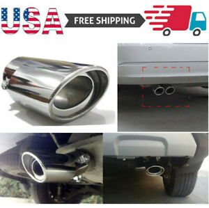 Car Stainless Steel Exhaust Trim Tip Muffler Pipe Silver Chrome Tail Throat Pipe