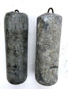 Lovely Set Of Two Pair Antique Long Case Grandfather Clock Lead Weights A02
