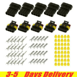 30x 2 3 4 pin Car Waterproof Male Female Way Electrical Connector Plug With Wire