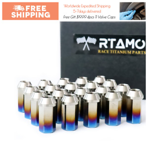 Rtamo M14x1 5px45l Titanium Gr5 Hex Open End Wheel Lug Nut Brunt Blue 20pcs