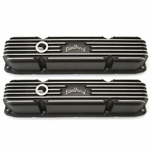 Edelbrock 41923 Classic Cast Aluminum Valve Covers Mopar Big Block