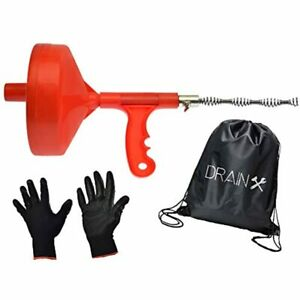 Plumbing Snake Drain Auger 25 ft Cleaning Cable With Work Gloves And Storage Bag