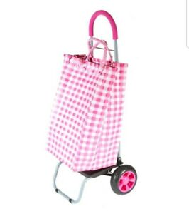 Trolley Dolly Basket Weave Tote Pink Shopping Grocery Foldable Cart