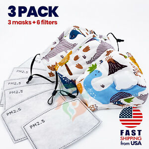 [3 PACK] Dinosaurs Kids Cotton Valve Face Mask with Filter Pocket PM2.5 Filter $14.95