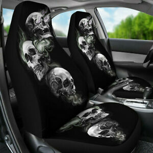 Pair Universal Car Truck Seat Covers Front Set Auto Seats Cover Skull Pattern