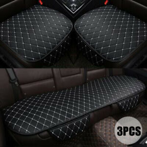 3pcs Universal Car Seat Cover Set Pu Leather Protector Front Rear Cushion Black