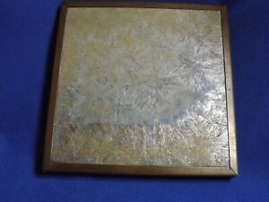 Antique Trent Aesthetic Pottery Tile Crystalline Glaze Copper Footed Frame 6 X6