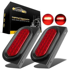 2x 6 Oval Stop turn tail Red 24led Truck Brake Lights W mounting Bracket