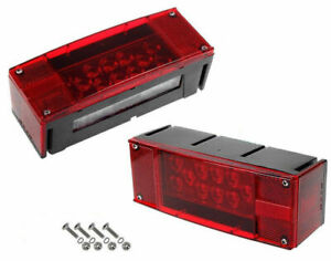 Left Right Screws Led Submersible Red Trailer Boat Stud Stop Turn Tail Lights
