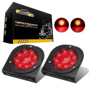 2x4 Round Stop turn tail Red Car Truck Trailer Brake Light W mounting Bracket