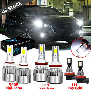 For Mazda 6 2014 2017 Cx 9 2013 2015 6x Led Headlight Fog Light Combo Bulbs Kit