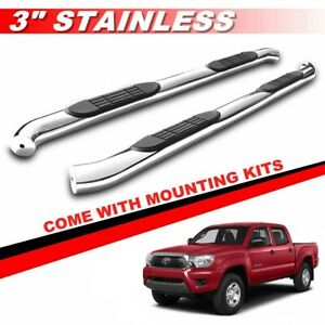 3 Silver For 2005 2020 Toyota Tacoma Double Cab Side Steps Bars Running Boards