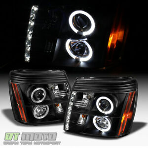 Black 2003 2006 Cadillac Escalade Drl Led Projector Headlights Xenon Hid Only