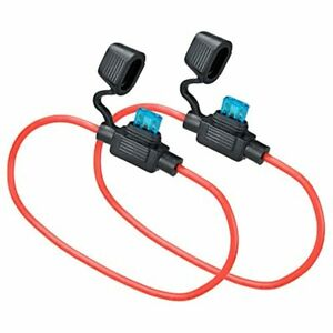 2 Set Mini Blade Fuse Holder 14 Gauge Waterproof Pigtail Inline With 15a Atm