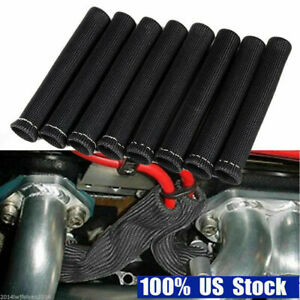 8pcs Black 2500 Spark Plug Wire Boots Heat Shield Protector Sleeve For Sbc Bbc