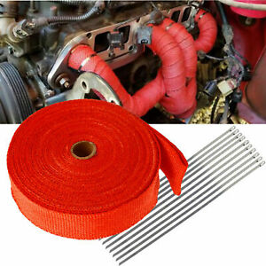 Exhaust Wrap Manifold Header Pipe Heat Wrap Tape W 10 Ties Kit 2 x50ft Roll Red