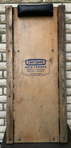 Craftsman Auto Creeper W Rol Ez E Metal Wheels Sears Padded Headrest Wood Vtg