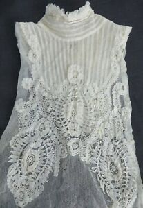 Antique Vtg Princess Brussels Lace Elaborate Victorian Dress Front High Collar
