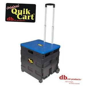 Dbest Products Quik Cart Two Wheeled Collapsible Handcart With Blue Lid Rolling