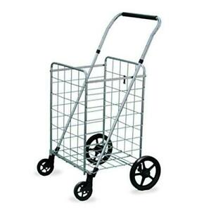 Wellmax Grocery Shopping Cart With Swivel Wheels Foldable And Collapsible Utili