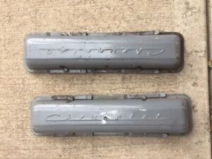 Sbc Chevy Gm Stamped Script Valve Covers 283 327 350 Original Vintage Hold Downs