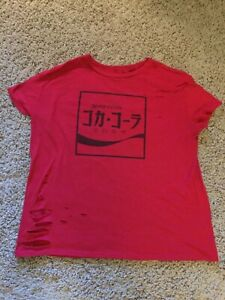 Japanese Red Distressed Coca-Cola Shirt Women's XL