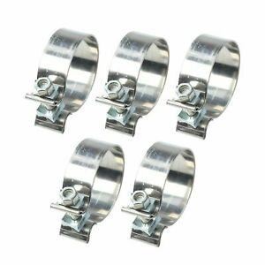 5pcs 2 5 2 1 2 63mm Genuine T409 Stainless Steel Band Exhaust Clamps
