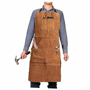 Qeelink Leather Work Shop Apron With 6 Tool Pockets Heat Flame Resistant Heavy