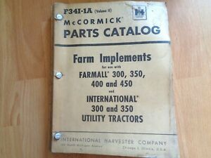 Vintage Farmall 300 350 400 450 Tractor Ih Implements Parts Catalog Oem