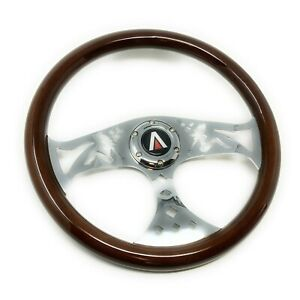 Tanaka 6 Bolt 380mm Real Wood Finish 3 Spoke Universal Steering Wheel Lowrider