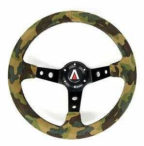 Universal 6 Bolt 350mm Deep Dish Suede Leather Camouflage 3 Spoke Steering Wheel