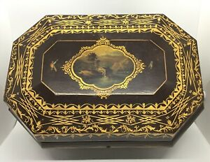 Antique Hand Painted Landscape Gold Gilt Decorated Wood Sewing Box Case Fitted