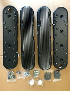 Chevy Ls Black Aluminum Finned Hidden Coil Valve Covers Vintage Style