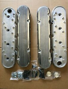 Chevy Ls Polished Aluminum Finned Hidden Coil Valve Covers Vintage Style