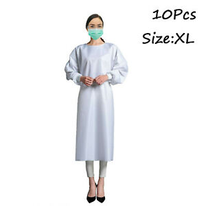 10pcs White Reusable Isolation Gown Dental Medical Ppe 24 Hours Fast Shipping