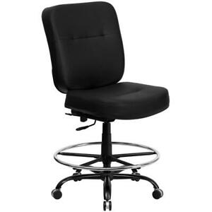 Office Desk Chair Leather Big Tall Draft Stool High Back Adjustable Height Black
