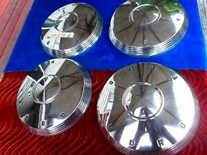 1961 1962 Ford Poverty Dog Dish Hub Caps Nos Set 4 Sleeper Gasser Hot Rod Muscle