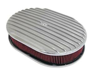12 Oval Finned Polished Aluminum Red Washable Classic Air Cleaner