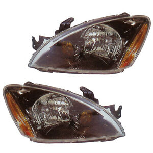 Front Headlights Pair Set For 04 07 Mitsubishi Lancer black Rim Left Right