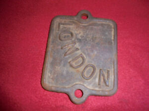 Rare Hit Miss Gas Engine Name Plate Old Cast Iron Cover Sign London Novo Ideal