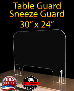 Sneeze Guard Protective Shield Table Acrylic Plexiglass Store Office Salon