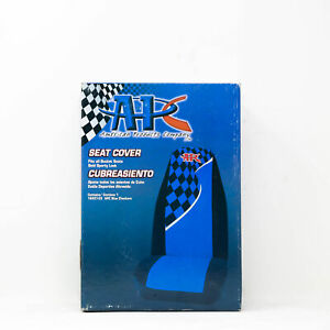 Universal Car Fabric Seat Cover Protector Checkered Racing Flag Blue Black 1pc