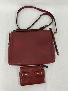 Fossil Purse Women's Red Shoulder Purse w Matching Wallet $14.99