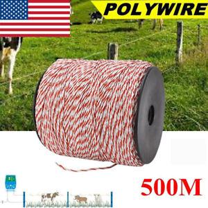 1640ft 500m Electric Poly Fence Wire Polywire Steel Horse Fencing Low Resistance