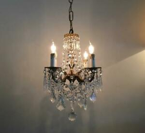 Antique Vtg European Brass W French Czech Crystals Petite Tiny Chandelier Lamp