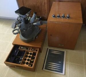 Olympus Vintage Universal Pmf Polarizing Inverted Microscope Box And Accessories