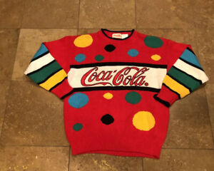 Vintage 1980's Coca Cola Coke Spellout Stitched Logo Red Knit Sweater Adult L