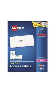 Avery 5160 Easy Peel Address Labels Laser 1 X 2 5 8