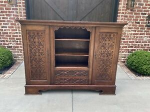 Antique English Oak Bookcase Display Cabinet Gothic Wide 74 Tiger Oak 1930s